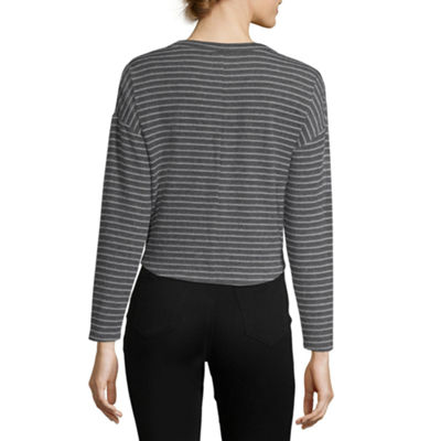 Derek Heart Long Sleeve Crew Neck Knit Blouse-Juniors
