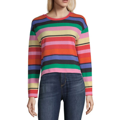 Derek Heart Womens Crew Neck Long Sleeve Knit Blouse-Juniors