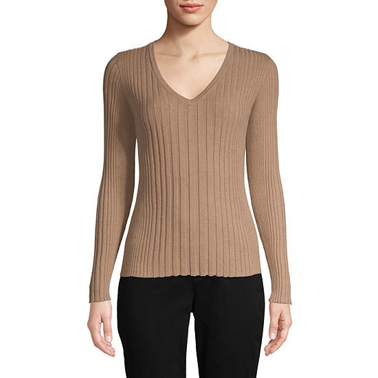Liz Claiborne Womens V Neck Long Sleeve Pullover Sweater Jcpenney