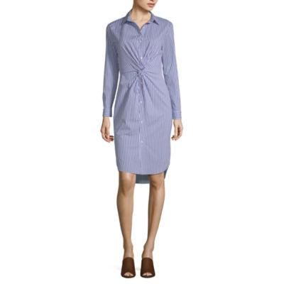 Belle + Sky Long Sleeve Stripe Wrap Dress