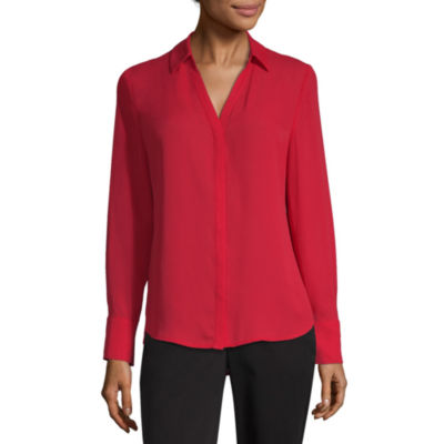 Worthington Long Sleeve Collar Neck Georgette Blouse