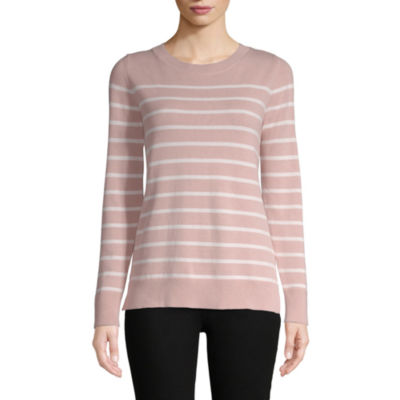 Liz Claiborne Womens Crew Neck Long Sleeve Stripe Pullover Sweater