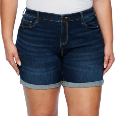 """Boutique + 6""""  Clean Roll Cuff Denim Shorts - Plus"""
