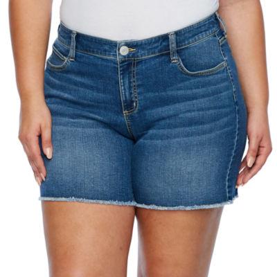 """Boutique + 6"""" Denim Shorts-Plus"""