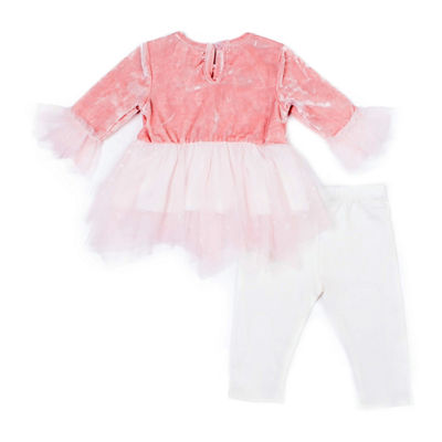 Little Lass 2-pc. Lace Velvet Set-Baby Girls