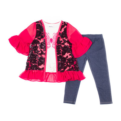 Little Lass 3-pc. Butterfly Kimono Legging Set-Baby Girls