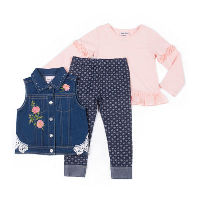Little Lass 3-pc.Crochet Denim Vest Legging Set-Baby Girls