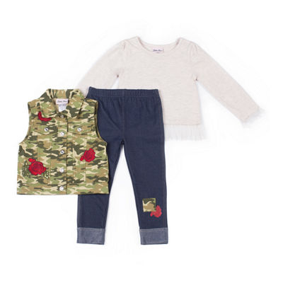 Little Lass 3-pc.Camo Rose Vest Set-Baby Girls