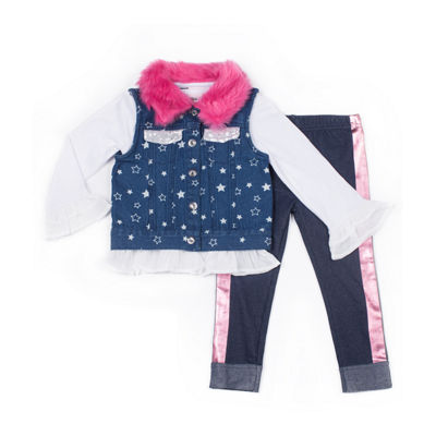 Little Lass 3-pc.Vest Fur Collar Legging Set-Baby Girls