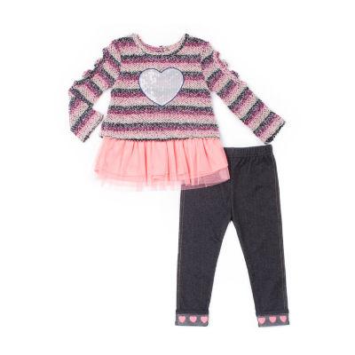 Little Lass 2-pc. Stripe French Terry Legging Set-Baby Girls