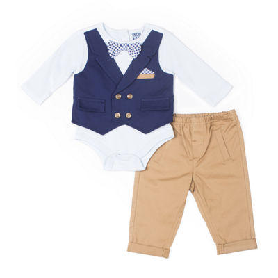 Little Lass 2-pc. Bow Tie Mock Vest Set-Baby Boy