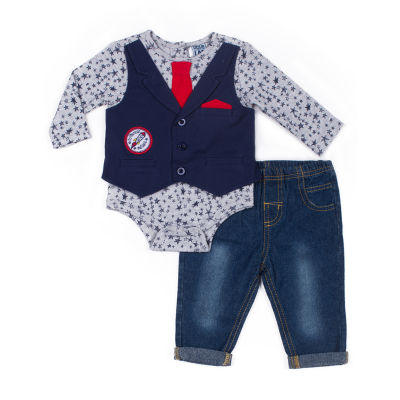 Little Lass 2-pc.Moon Mock Vest Set -Baby Boys
