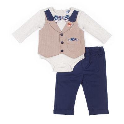 Little Lass 2-pc.Mock Vest Twill Set-Baby Boy