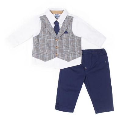 Little Lass 2-pc. Plaid Mock Vest Set-Baby Boy