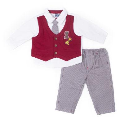 Little Lass 2-pc.Poplin Mock Vest Set-Baby Boy