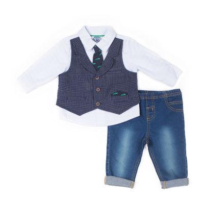 Little Lass 2-pc. Alligator Mock Vest Pant Set-Baby Boy