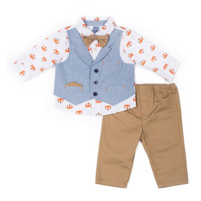 Little Lass 2-pc.Fox Mock Vest Set-Baby Boy