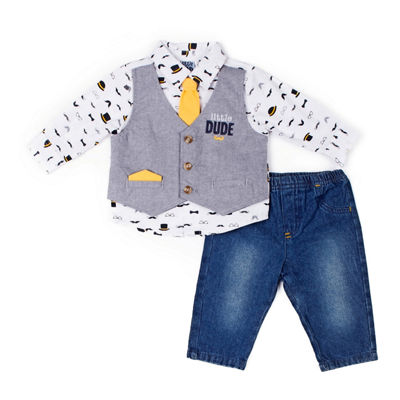 Little Lass 3-pc. Little Dude Mock Set-Baby Boy