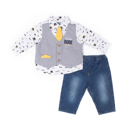 Little Lass 2-pc. Little Dude Mock Vest Set-Baby Boy