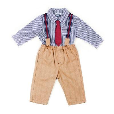 Little Lass 3pc Stripe Suspender Pant Set-Baby Boy