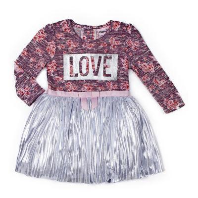 Little Lass Long Sleeve Floral Love Dress - Baby Girls