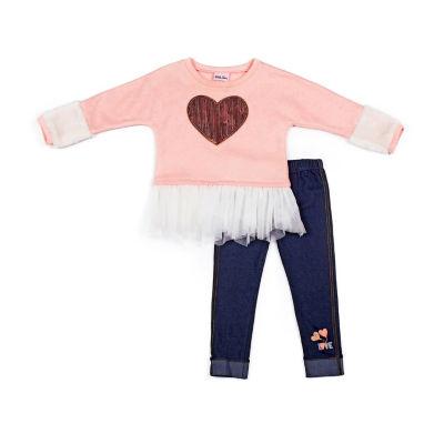 Little Lass 2-pc.Sequin Heart Fleece Legging Set-Baby Girls