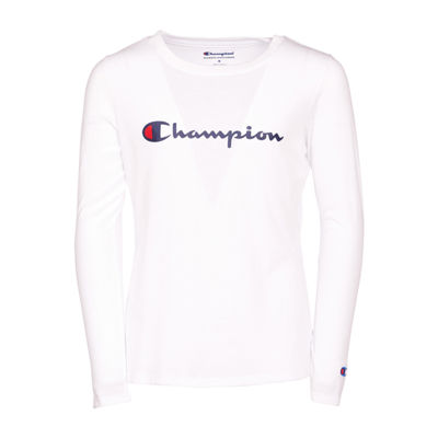Champion Long Sleeve Crew Neck T-Shirt - Girls Preschool