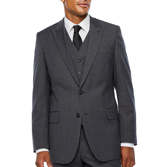 Stafford-Big and Tall Travel Stretch Striped Suit Jacket