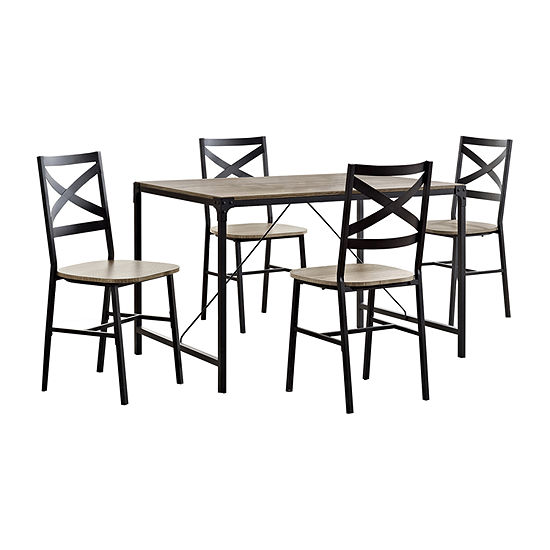 5-pc. Angle Iron Wood Dining Set