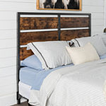 Queen Size Metal and Wood Plank Panel Headboard