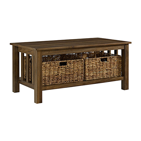 Wood Storage Coffee Table with Totes