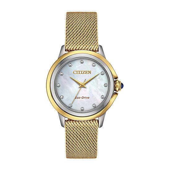 Citizen Womens Gold Tone Stainless Steel Bracelet Watch-Em0794-54d