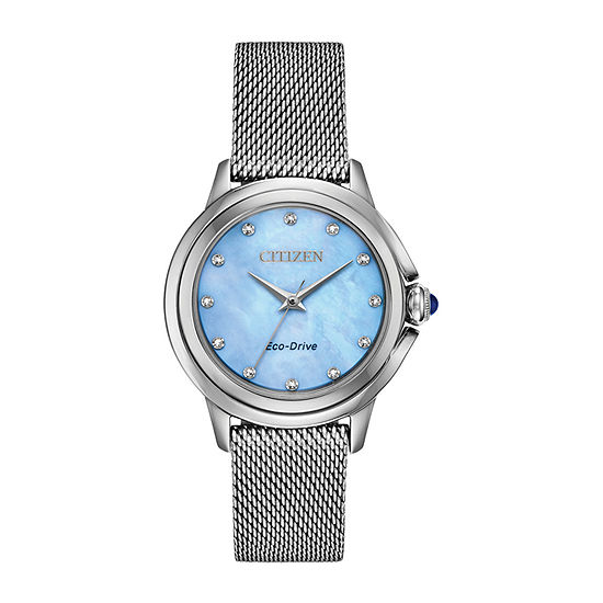 Citizen Womens Silver Tone Stainless Steel Bracelet Watch-Em0790-55n