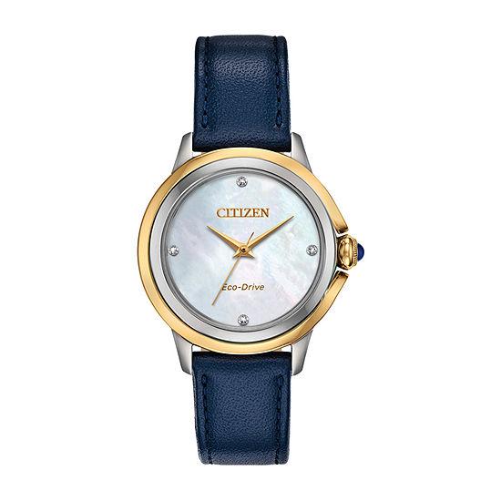 Citizen Womens Blue Leather Strap Watch-Em0794-03y