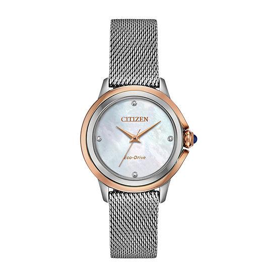 Citizen Womens Silver Tone Stainless Steel Bracelet Watch-Em0796-59y