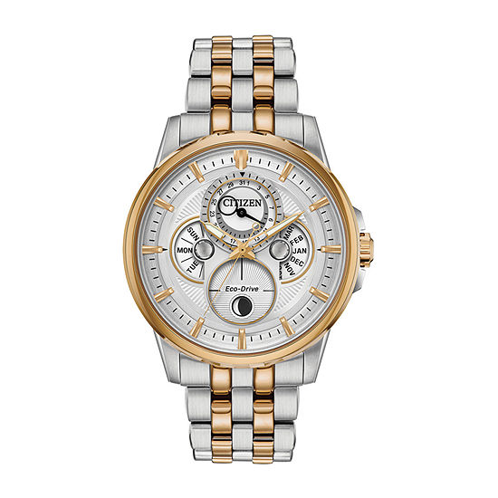Citizen Calendrier Mens Two Tone Stainless Steel Bracelet Watch-Bu0056-57a
