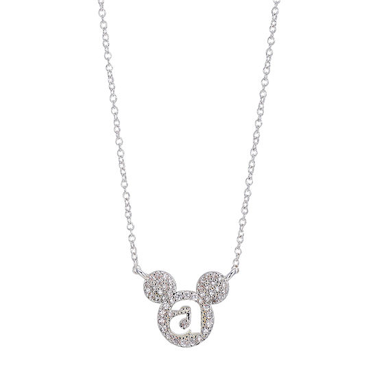 Disney Classics Womens White Cubic Zirconia Pure Silver Over Brass Mickey Mouse Pendant Necklace
