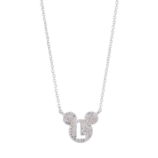 Disney Mickey Mouse White Cubic Zirconia Pure Silver Over Brass Initial Pendant Necklace