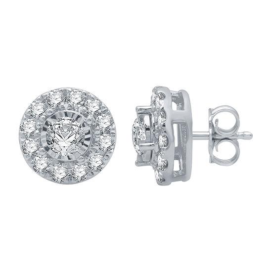 1 CT. T.W. Genuine White Diamond 10K Gold 10.2mm Stud Earrings