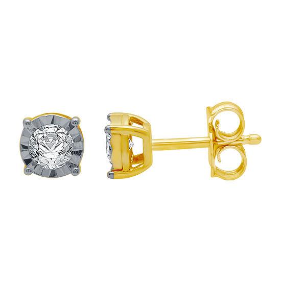 1/5 CT. T.W. Genuine White Diamond 10K Gold 5.3mm Stud Earrings