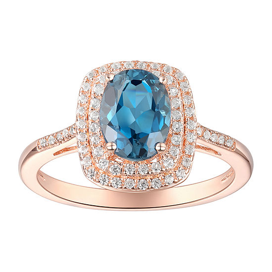 Womens Genuine Blue Topaz 14K Rose Gold Over Silver Halo Cocktail Ring