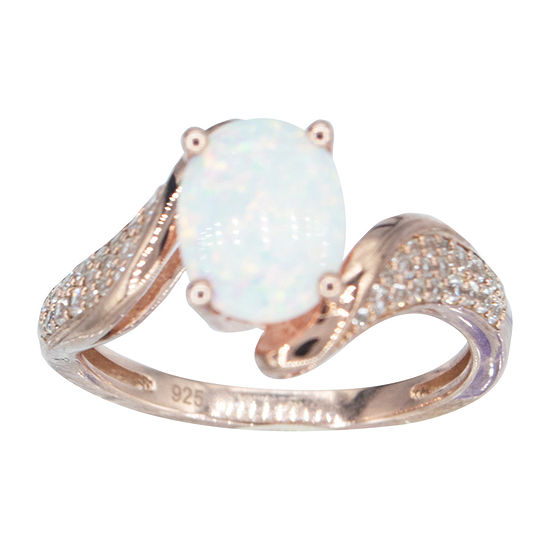Womens Lab Created White Opal 14K Rose Gold Over Silver Halo Cocktail Ring