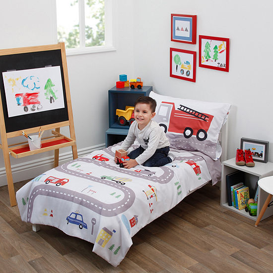 Nojo Everything Kids Road Trip 4-pc. Automotive Toddler Bedding Set