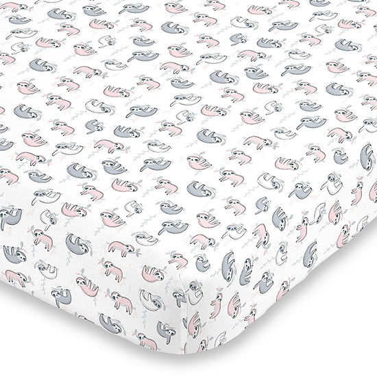 Nojo Super Soft Sloth Animals + Insects Crib Sheet