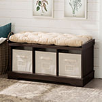 "42"" Wood Storage Bench with Totes and Cushion"