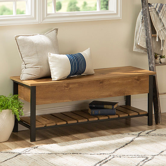 Open-Top Storage Bench with Shoe Shelf