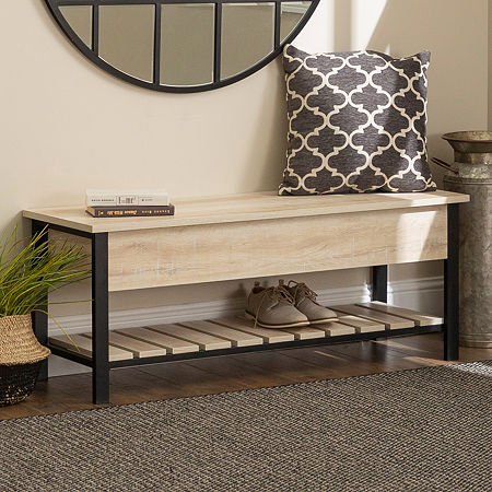 Open-Top Storage Bench with Shoe Shelf, One Size , White