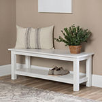 Country Style Entry Bench with Slatted Shelf