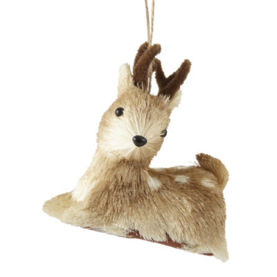 "North Pole Trading Co. Enchanted Woods 5"" Sitting Deer Christmas Ornament"