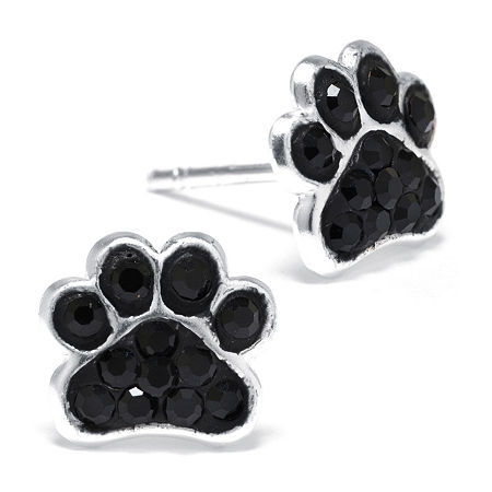 Black Crystal Sterling Silver Paw Print Earrings, One Size , No Color Family